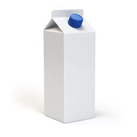 Milk or juiice blank white carton pack Isolated on white.