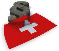 paragraph symbol und flagge der schweiz - 3d illustration
