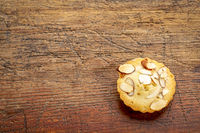 French almond cookie on rustic wood