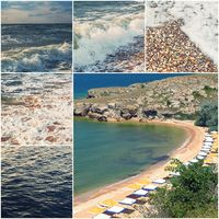 Happy summertime theme photo collage composed of colorized images of Sea of Azov