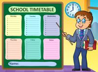 Weekly school timetable concept 6 - picture illustration.