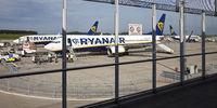 airport Frankfurt-Hahn with airplaine of Ryan Air, Rhineland-Palatinate, Germany, Europe