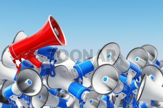Megaphones. Promotion and advertising, digital marketing or social network. Leader of protest or revolution  concept.