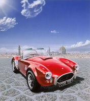 AC Cobra car, in Michelangelo Square in Florence, Italy. Airbrush illustration.