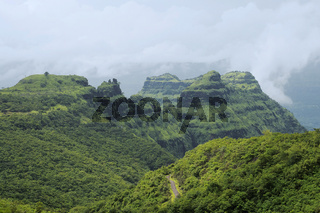 View of mountains and roads in Varandha ghat, Pune