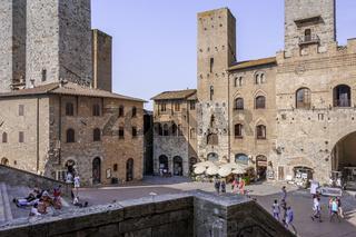 Piazza di Domo in San Gimignano , Toskana, Italien