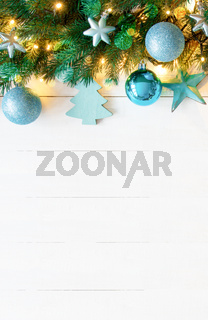 Vertical Turquoise Christmas Banner, Copy Space