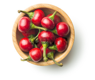 Round red chili peppers.