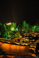 Lijiang Lighted Old Town Pagoda View Night V
