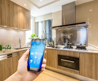 smart phone in modern kitchen