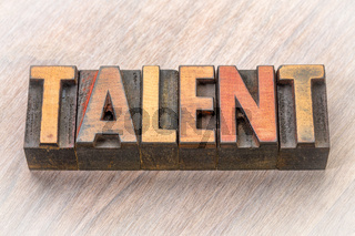 talent word abstract in wood type