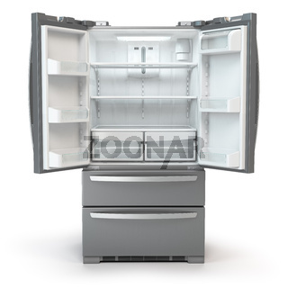 Open fridge freezer. Side by side stainless steel srefrigerator  isolated on white background.