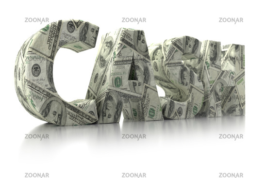 3D rendering of CASH word wrapped around with 100 USD banknotes over white background