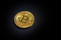 Golden bitcoin. Cryptocurrency.