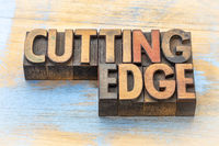 cutting edge word abstract in wood type