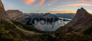 Panorama of Kananaskis lakes at sunrise from sarrail ridge