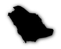 Karte von Saudi-Arabien mit Schatten - Map of Saudi Arabia with shadow