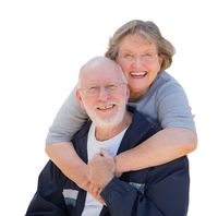 Happy Senior Couple Hugging and Laughing on White