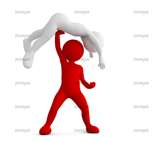 Red toon man beating his competitor.