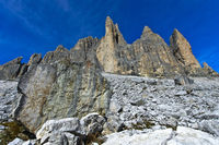 Boulders and scree beneath the South face of the Three Peaks Mountains, Tre Cime di Lavaredo, Italy