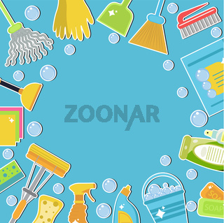 Set of icons for cleaning tools. Cleaning template for text, background. Flat design style. Cleaning design elements. Vector illustration