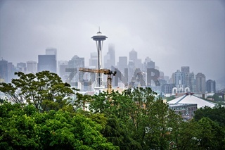 cloudy and foggy day with seattle skyline