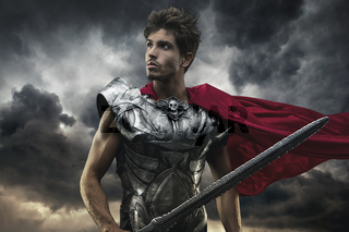 Roman Emperor with red cape and armor looking at the horizon before the battle