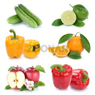 Obst und Gemüse Früchte Farben frische Collage Freisteller