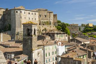 Sorano, Ansicht mit Festung, in der Provinz Grosseto in der Toskana, Italien