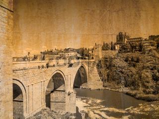 Postkarte von der Stadt Toledo, Spanien, im vintage look