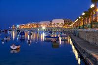 The night view of Marsaskala waterfront and Marsaskala Creek. Malta