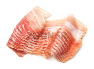 Raw, Smoked Bacon Isolated on White Background