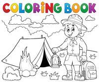 Coloring book scout boy theme 4