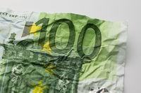 one hundret euro bill - wrinkled 100 euro bill macro