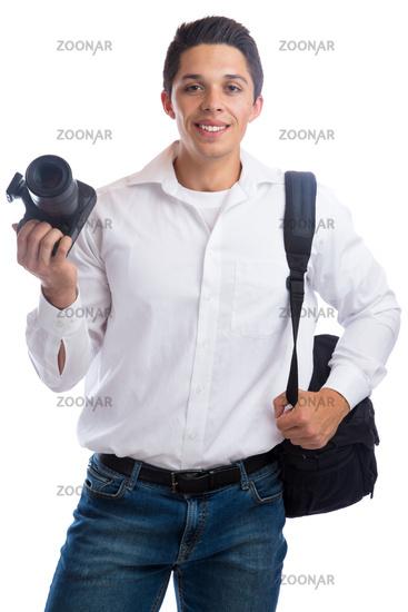 Fotograf Fotografie fotografieren Beruf mit Kamera Kameratasche Freisteller