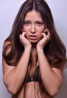 Emotional Beautiful woman  in black underwear