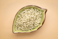 hemp seed hearts in a ceramic bowl