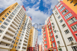 wide angle shot of new residential buildings