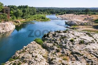 riverbank of of Gardon River near Pont du Gard