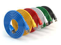 Set of colorful of LAN network connection ethernet cables. Internet cords RJ45 isolated on white background.