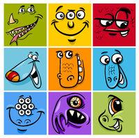 cartoon monster character set