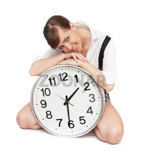 beautiful woman with big clock