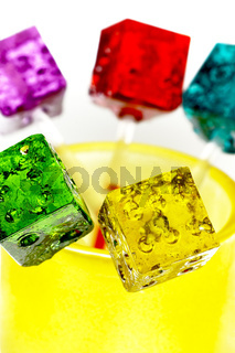 colorfull dice lollipops