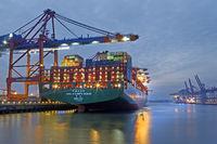 Container ship at night, Hamburg harbor, Container terminal Eurogate, Hamburg, Germany, Europe