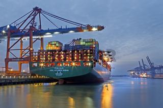 Ein Containerschiff liegt bei Nacht  im Hamburger Hafen, Containerterminal Eurogate, Hamburg, Deutschland