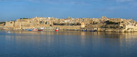 The panoramic view of Valletta and Grand harbor from the Kalkara penincula. Malta