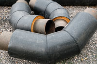 bended Pipes for Water Pipeline with Isolation in Stack on Ground