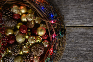 Twig Christmas Wreath and Decorations