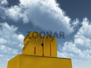 die zahl achtzig - 80 - vor wolkigem himmel- 3d illustration