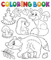 Coloring book forest wildlife theme 1 - picture illustration.